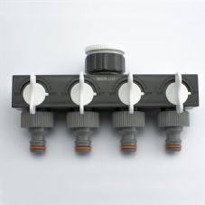 "Quantum Garden - White Line - 1"" > 3/4"" Quaternary DIstributor with Valves"